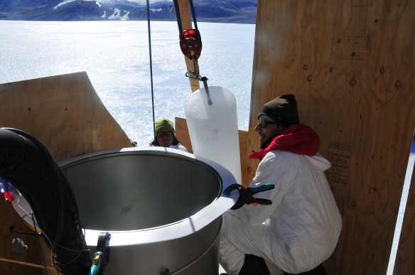 The ice cores are loaded via 4 to 1 pulley system hanging off a trebuchet